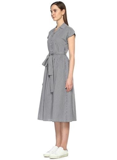 Kareli Beli Kuşaklı Midi Boy Elbise-Beymen Club